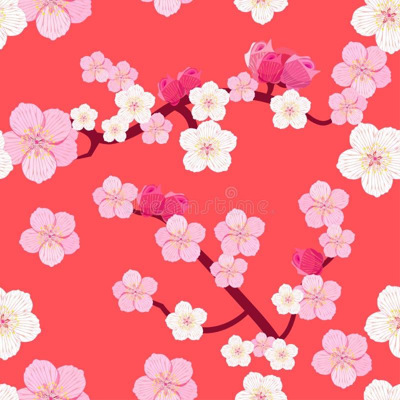Безшовная картина японских цветя ветвей вишневого дерева стоковое фото rf