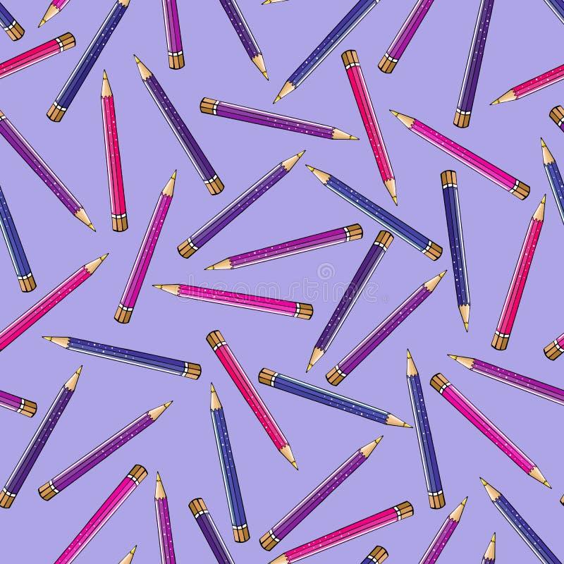 Безшовная картина ярких карандашей в розовых цветах сирени иллюстрация штока