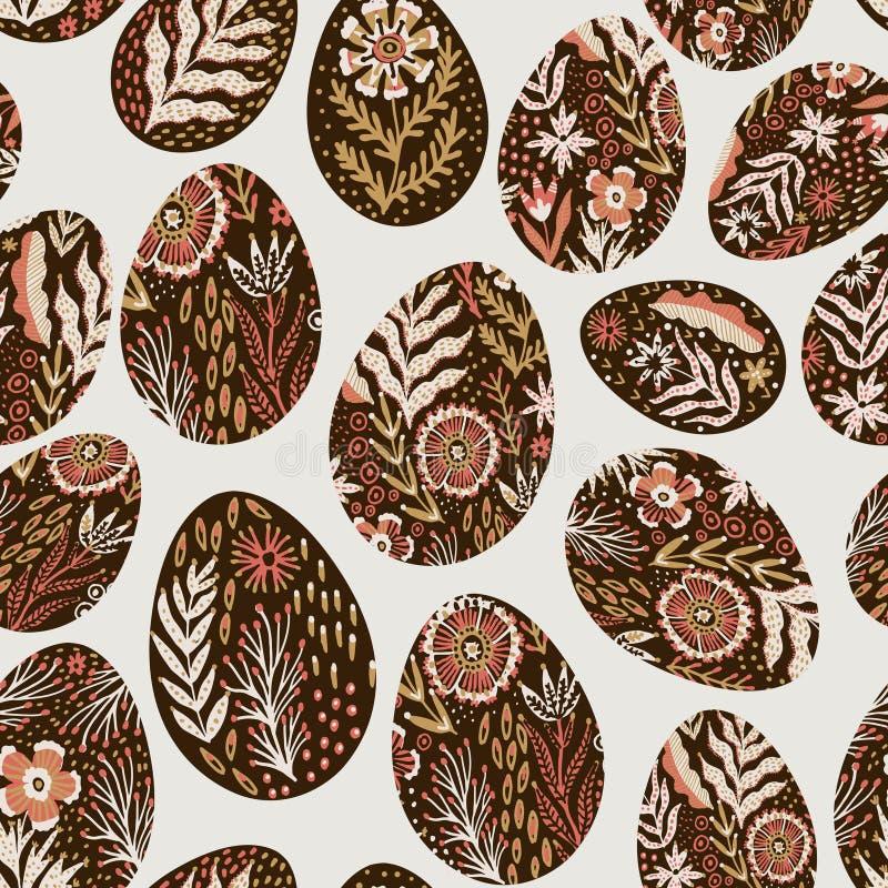 Безшовная картина яя на теме пасхи Графическая картина вектора с праздничными яйцами в фольклорном стиле иллюстрация штока