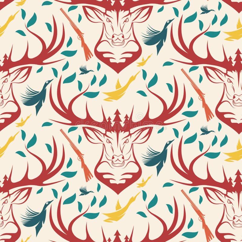 Безшовная картина для охотиться тема олени, утка, оружие, птица иллюстрация штока