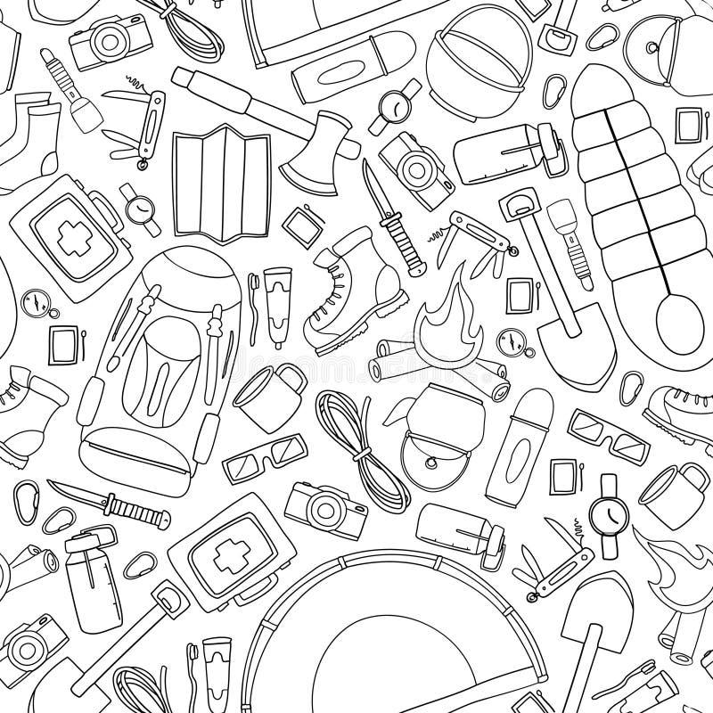Безшовная картина doodle вектора располагаться лагерем и пешее оборудования бесплатная иллюстрация