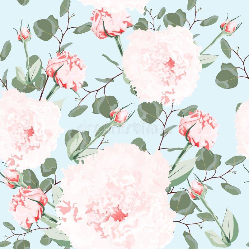 Безшовная картина eustoma и евкалипта пинка стиля акварели вектора Иллюстрация цветков иллюстрация вектора