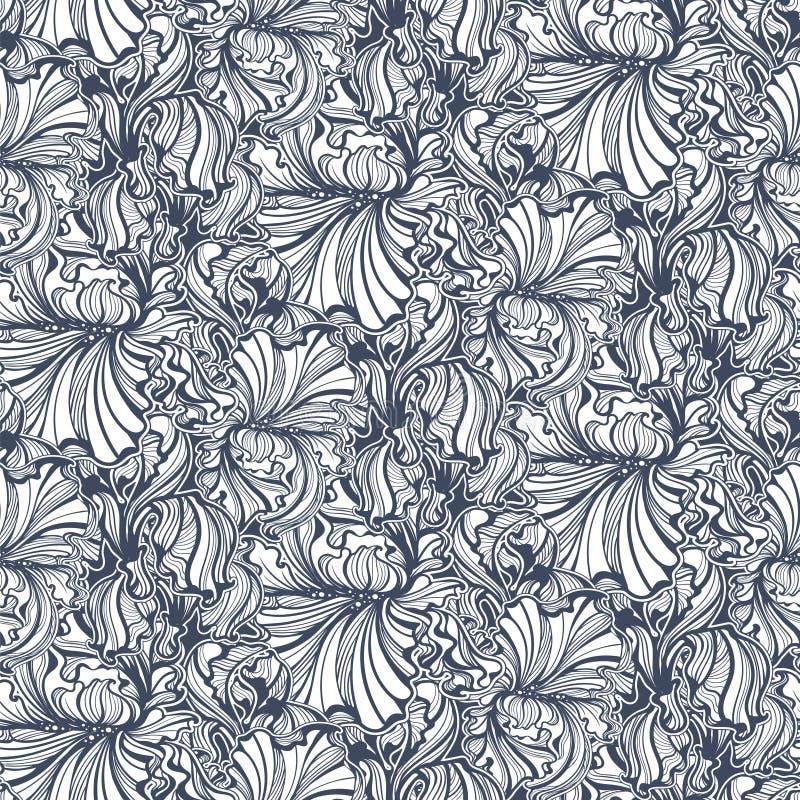 Безшовная картина Irises искусство Nouveau бесплатная иллюстрация
