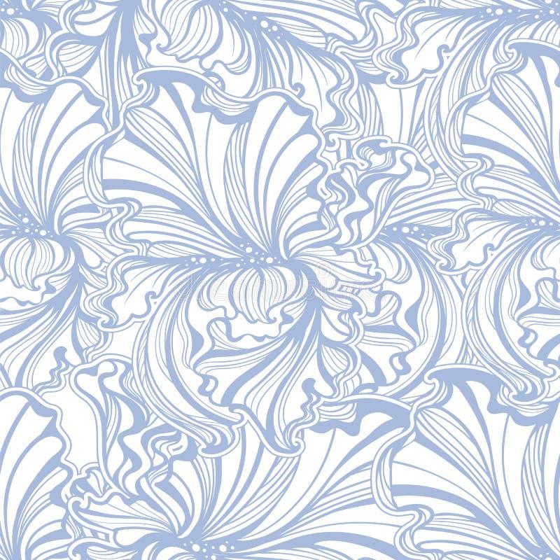Безшовная картина Irises искусство Nouveau иллюстрация вектора