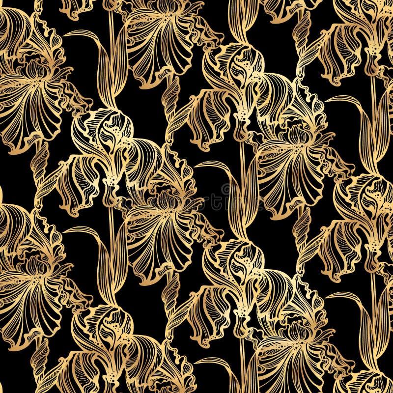 Безшовная картина Irises искусство Nouveau иллюстрация штока