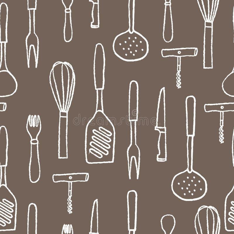 Безшовная картина kitchenware Белой контур нарисованный рукой на коричневой предпосылке иллюстрация штока