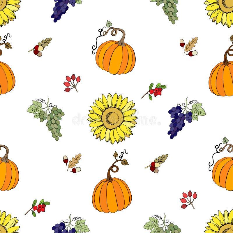 Безшовная картина Thanksgiving-022 иллюстрация вектора