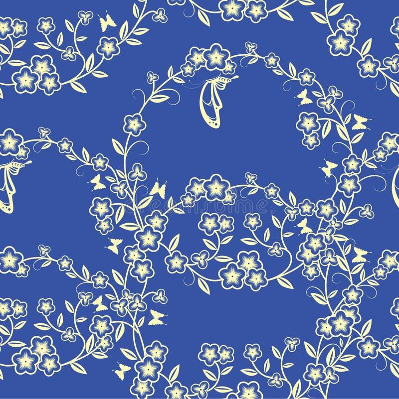 Безшовная карточка цветка и бабочки бесплатная иллюстрация