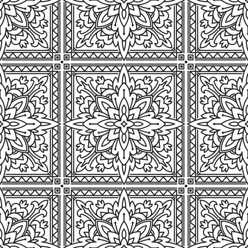 Безшовная квадратная абстрактная племенная Черно-белая картина в Mono линии бесплатная иллюстрация
