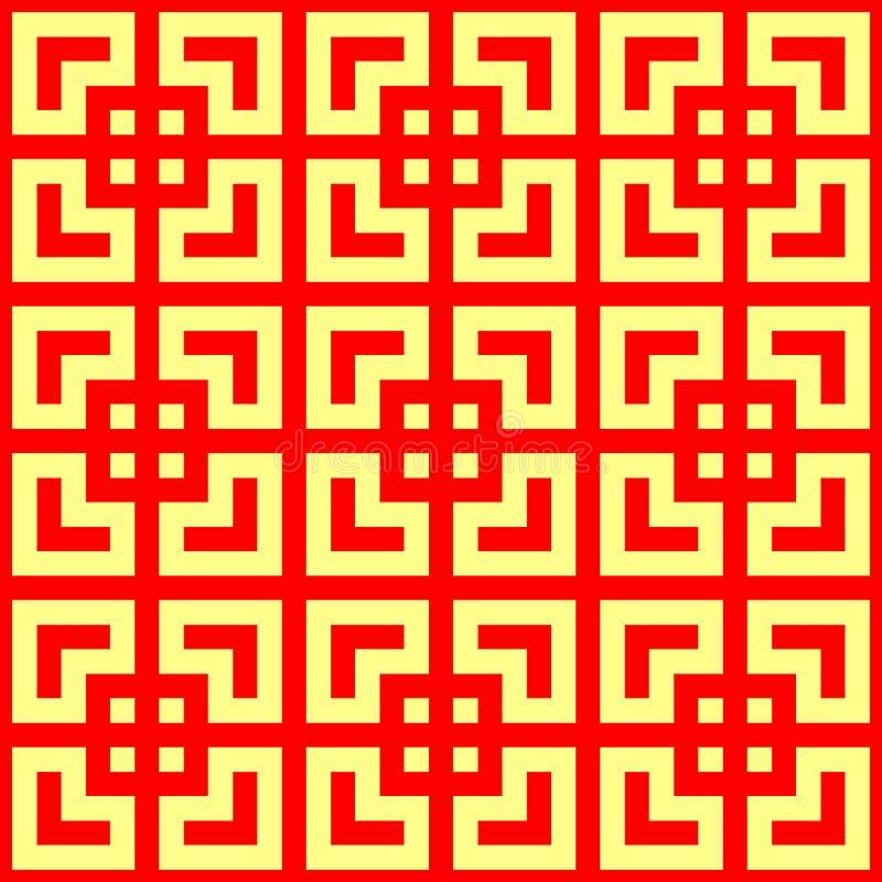 Безшовная китайская картина tracery окна Повторенные стилизованные красные площади на желтой предпосылке абстрактное геометрическ бесплатная иллюстрация