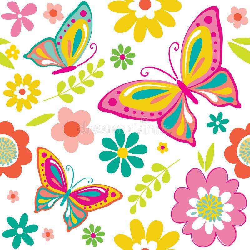 Безшовная красивая картина бабочки и цветков иллюстрация штока
