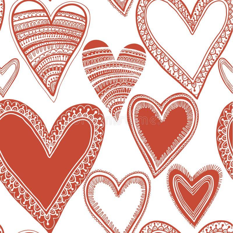 Безшовная красная картина сердца бесплатная иллюстрация