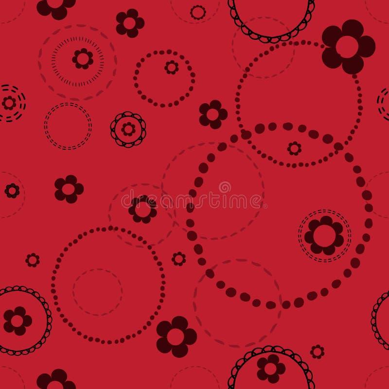Безшовная красная картина с doodles стоковое изображение rf