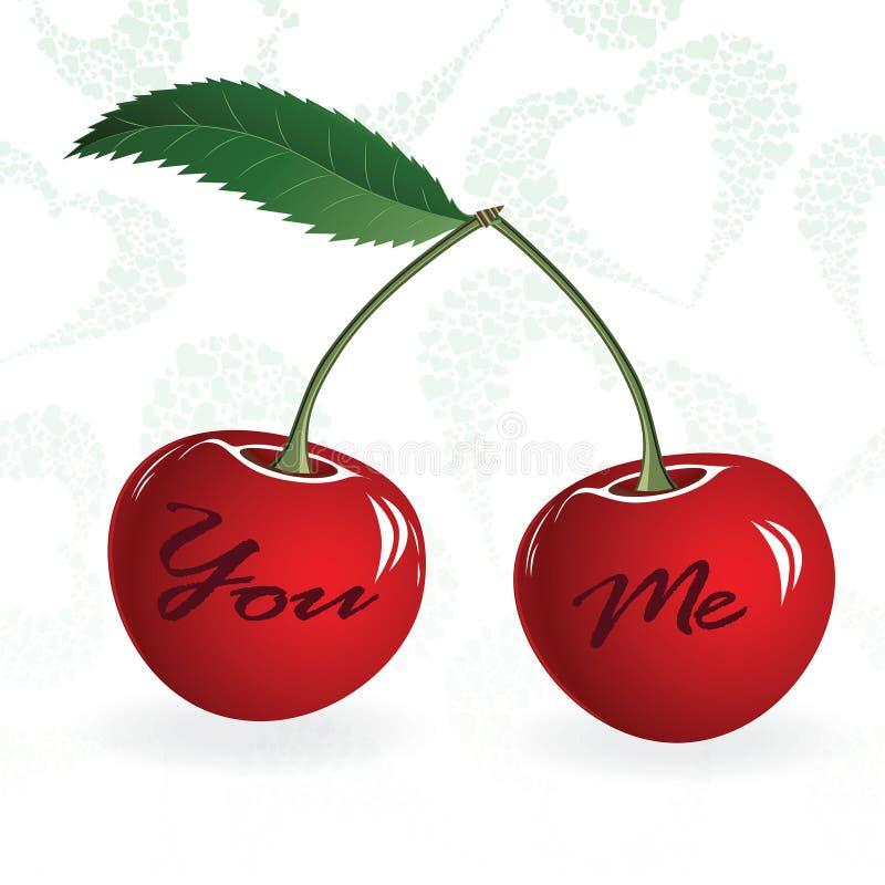 Безшовная красная ягода пар валентинки влюбленности вишни также вектор иллюстрации притяжки corel Элемент для конструкции иллюстрация вектора