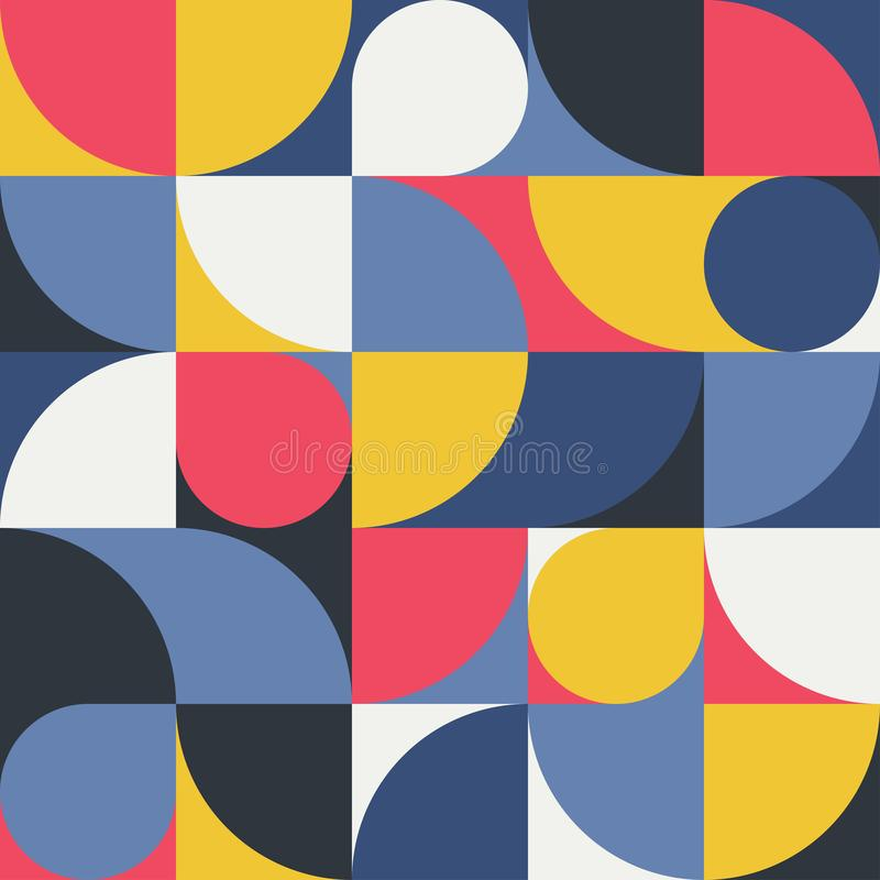 Безшовная красно-желт-голубая абстрактная геометрическая печать Иллюстрация вектора multi покрашенная Первоначальная геометрическ иллюстрация штока