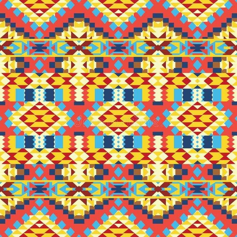 Безшовная красочная ацтекская картина иллюстрация штока