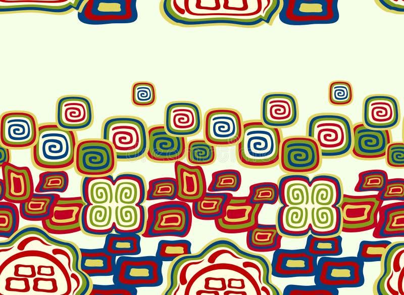Безшовная красочная картина в индийском стиле с символами Иллюстрация вектора EPS10 иллюстрация штока