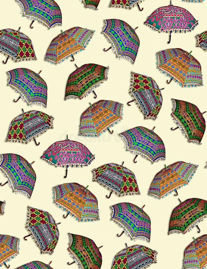Безшовная красочная картина зонтика иллюстрация вектора