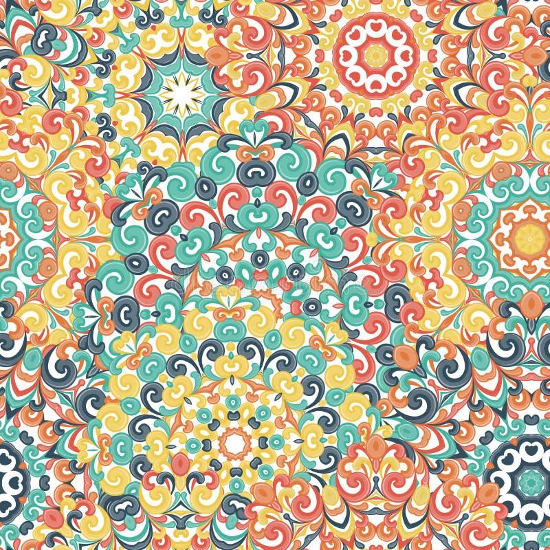 Безшовная красочная этническая картина с мандалами в восточном стиле Круглые doilies с зеленой, красный, желтый, апельсин завиваю иллюстрация вектора