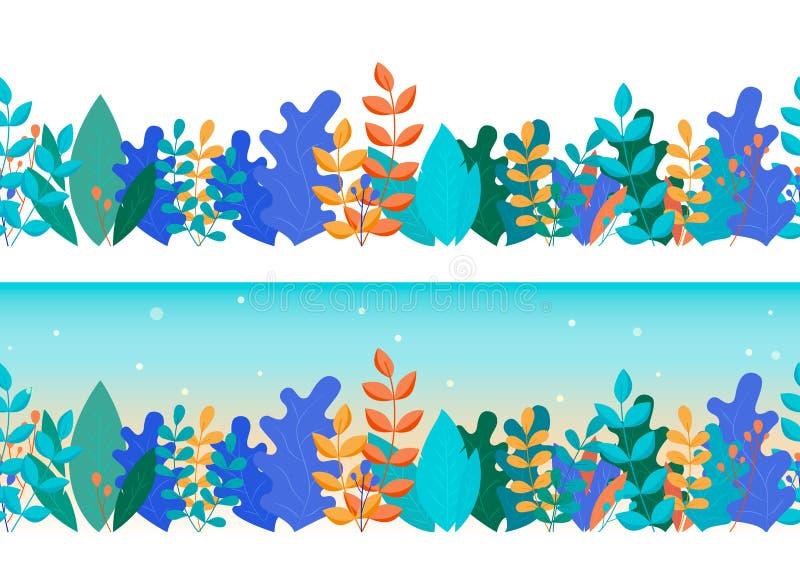 Безшовная линия горизонтальная картина с абстрактными красочными заводами бесплатная иллюстрация