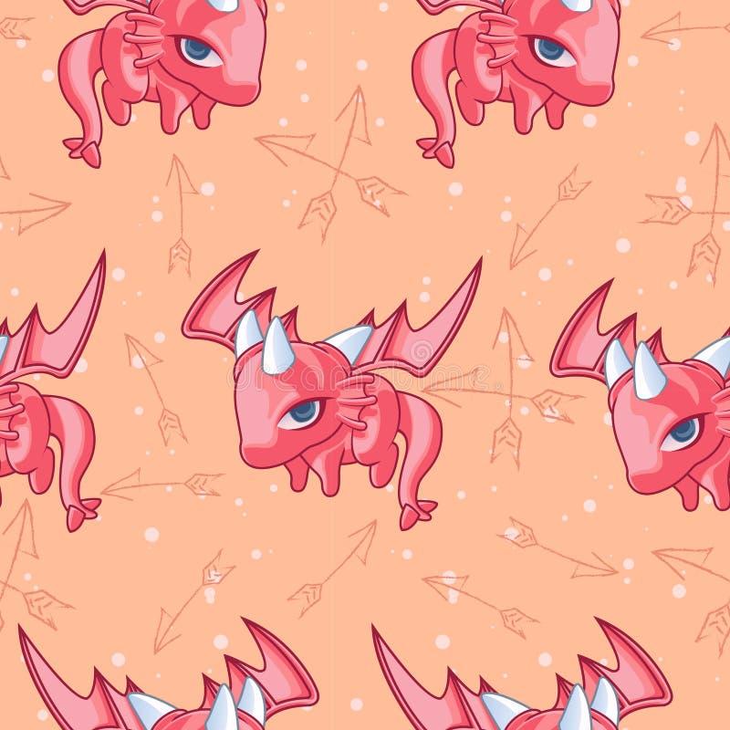 Безшовная маленькая картина дракона иллюстрация вектора