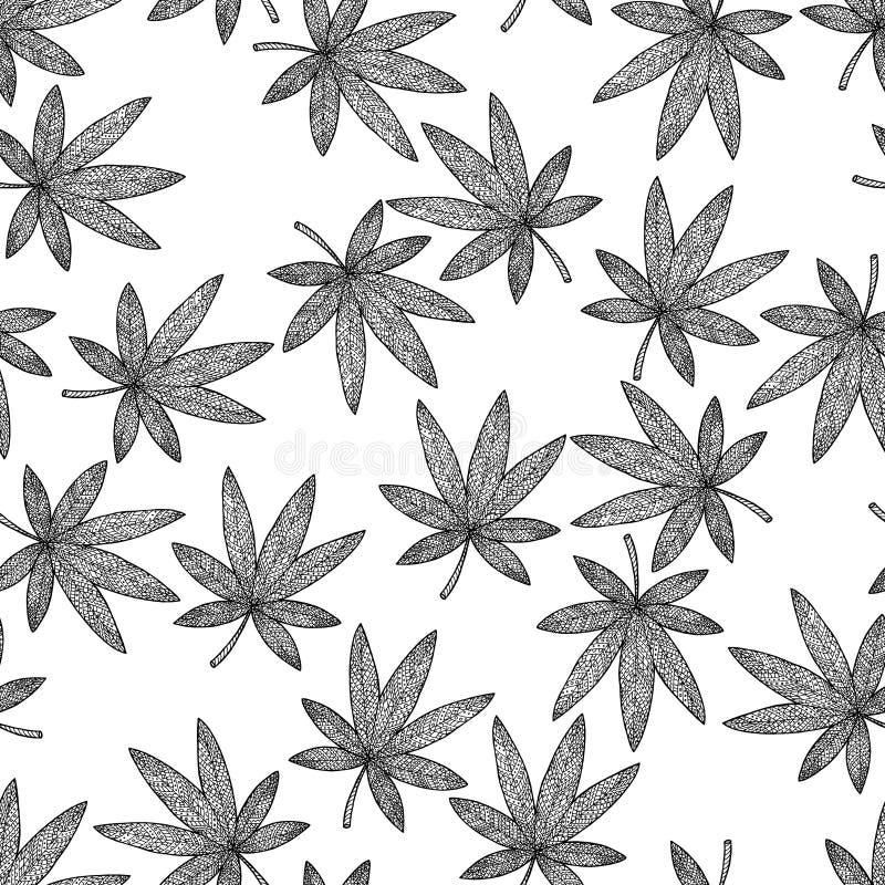 Безшовная марихуана предпосылки картины Гашиш путать и doodle Дзэн иллюстрация штока
