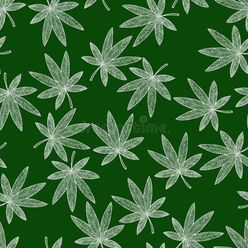 Безшовная марихуана предпосылки картины Гашиш путать и doodle Дзэн бесплатная иллюстрация