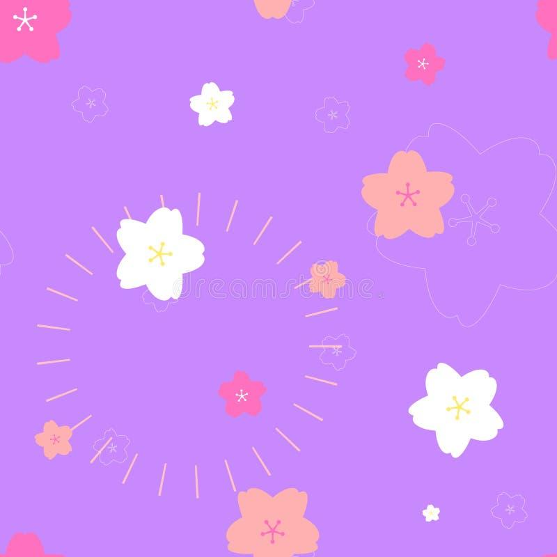 безшовная милая картина пинка и белых вишневого цвета Сакуры персика сливы цветка повторения в пурпурной предпосылке бесплатная иллюстрация