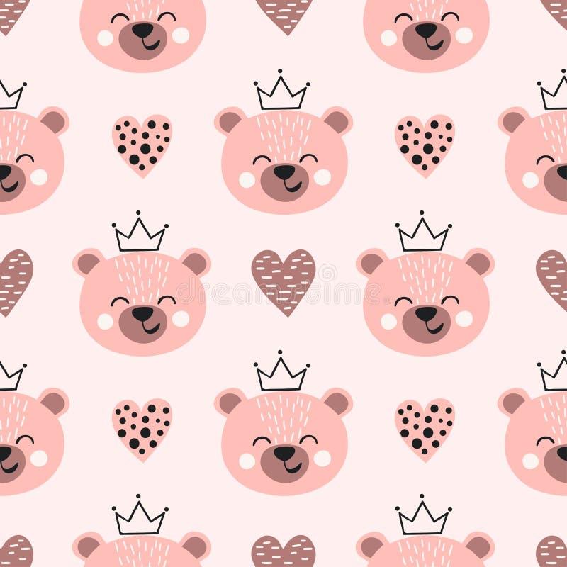 Безшовная милая картина принцессы медведя иллюстрация штока