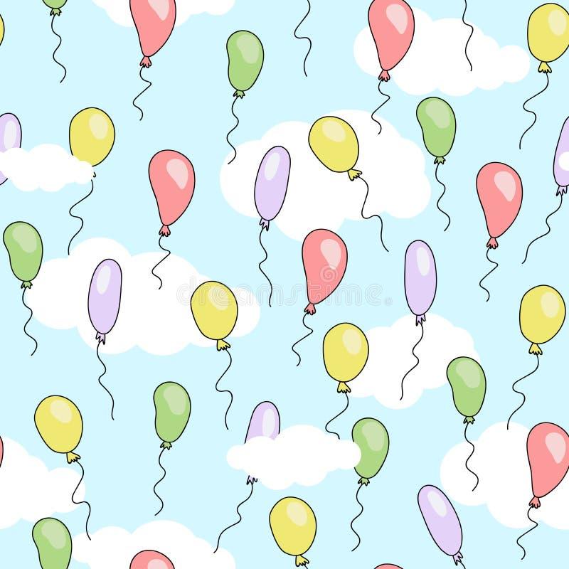 Безшовная милая картина с воздушными шарами шаржа различных ярких цветов летая в голубое небо с белыми облаками иллюстрация штока