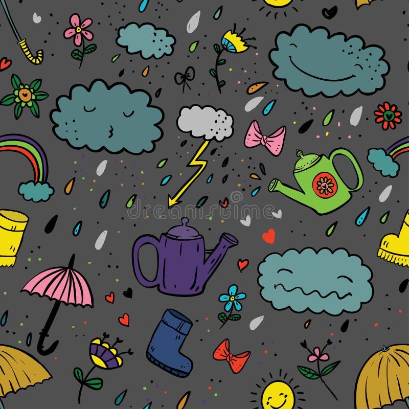Безшовная милая картина цвета стиля шаржа рук-притяжки с зонтиком, молнией, облаком, резиновым ботинком, падением, смычком, моча  бесплатная иллюстрация