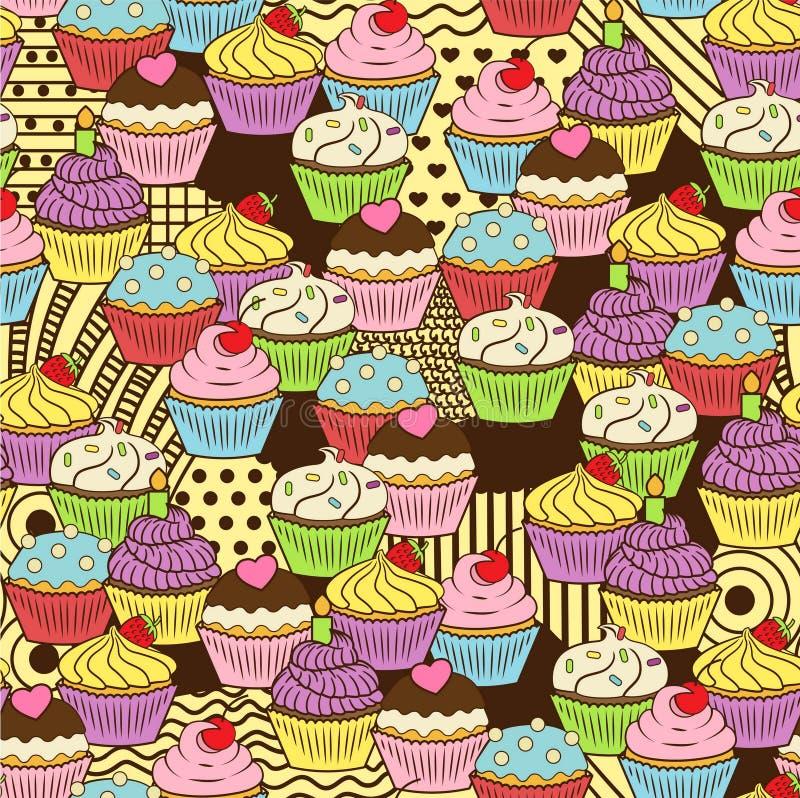 Безшовная милая очень вкусная картина doodle пирожного Оно включает yummy пустыни с замороженностью, вишней, клубникой, сливк бесплатная иллюстрация