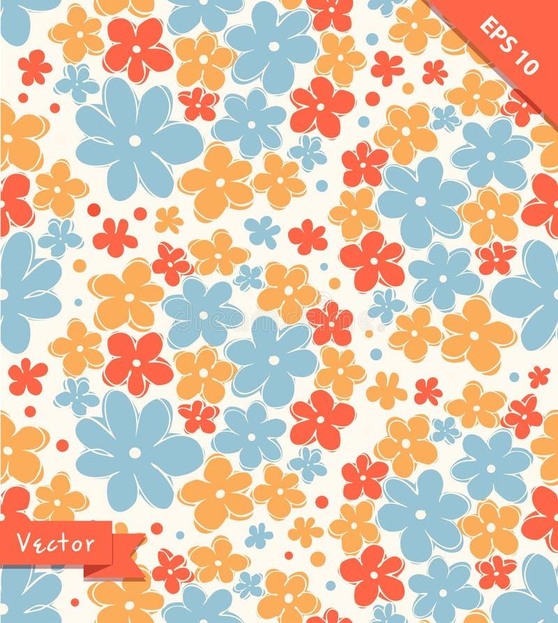 Безшовная милая текстура с цветками Бесконечная флористическая картина иллюстрация вектора