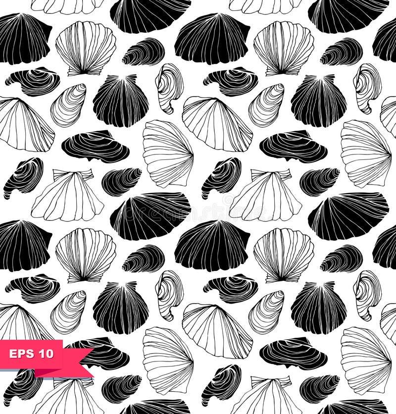 Безшовная морская картина с раковинами Черно-белая графическая текстура с seashells бесплатная иллюстрация