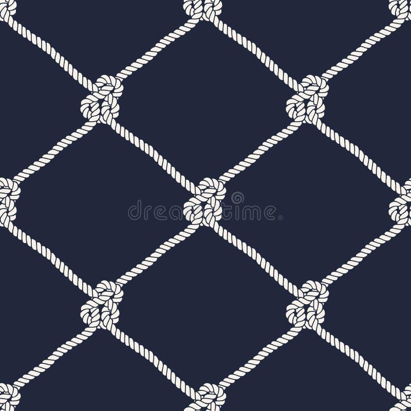 Безшовная морская картина узла веревочки бесплатная иллюстрация