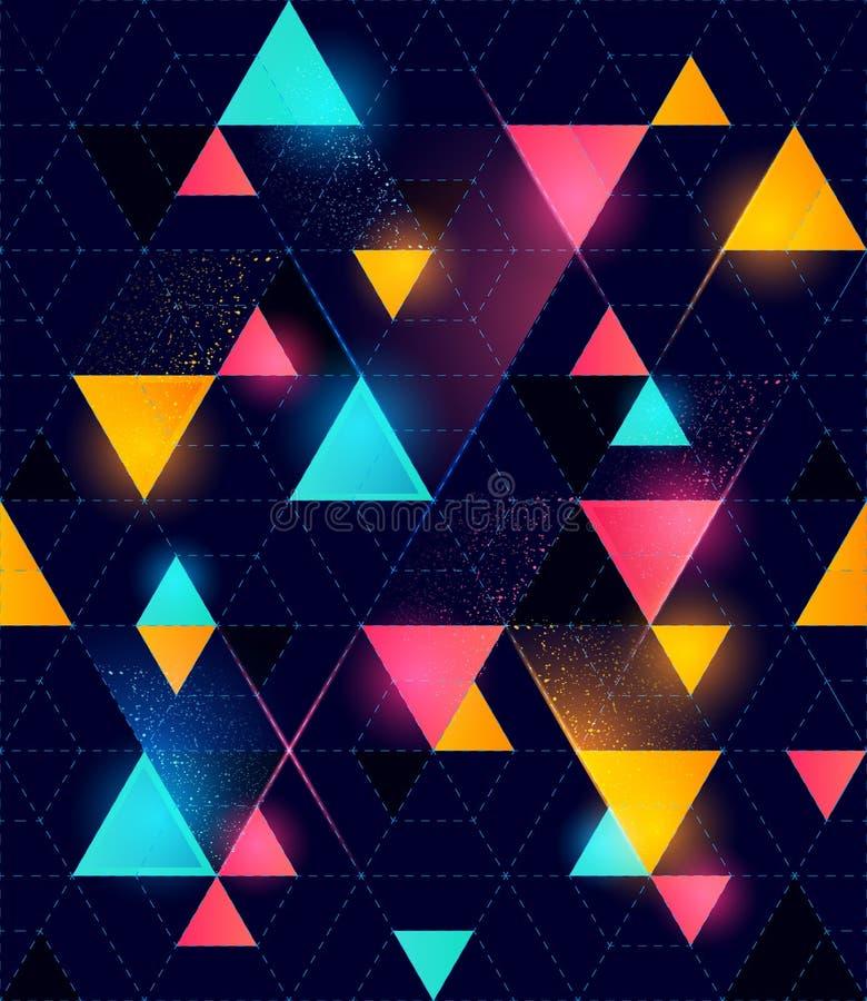 Безшовная неоновая геометрическая картина иллюстрация вектора