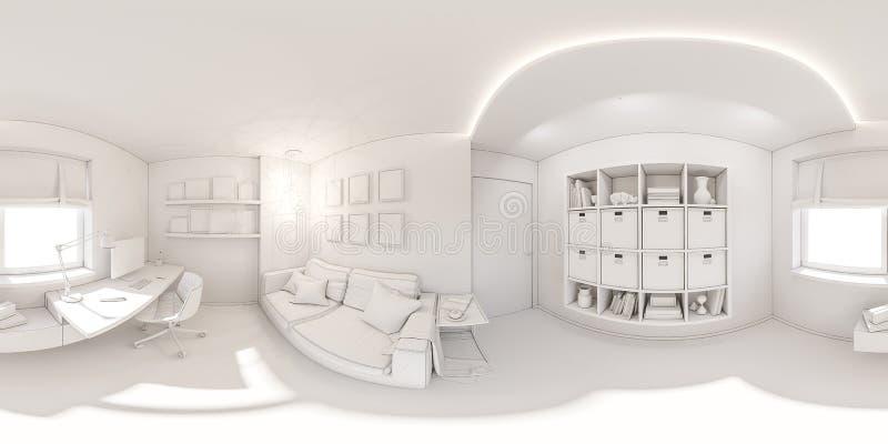 Безшовная панорама домашнего офиса 360 vr иллюстрация 3d современного дизайна интерьера квартиры иллюстрация штока