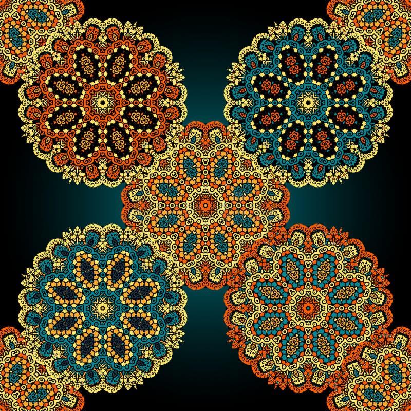 Безшовная пестротканая картина мандалы Винтажный элемент hippie для дизайна бесплатная иллюстрация