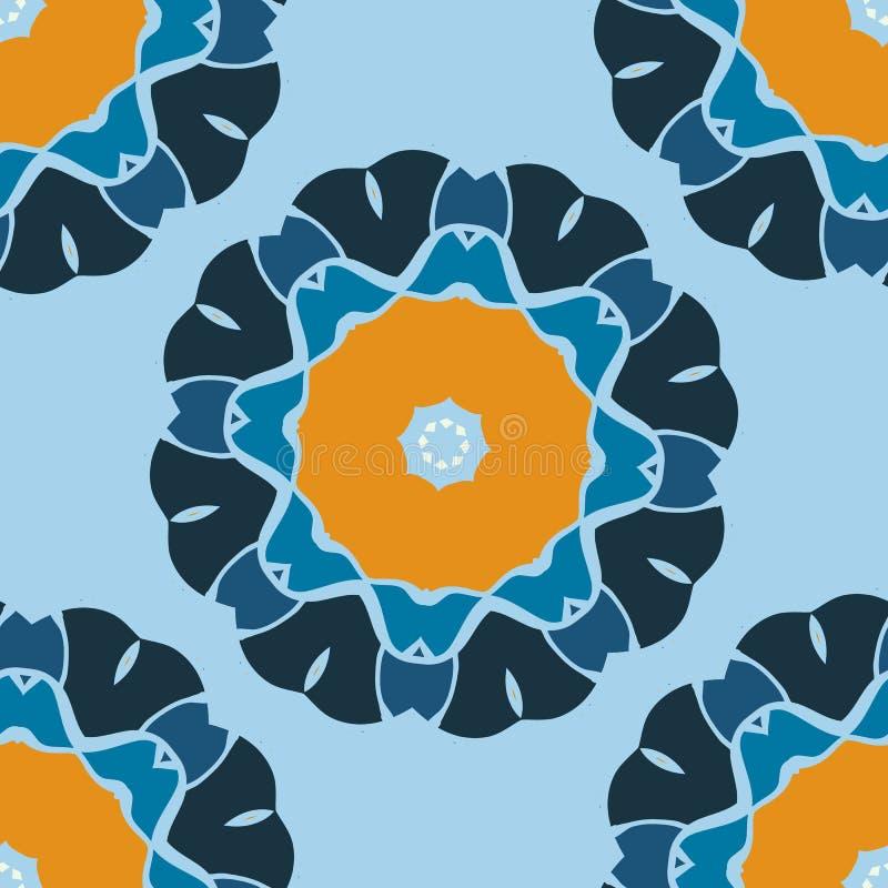 Безшовная печать Брайн и голубая мандала вектора Декоративный элемент для вашего дизайна, орнамент шнурка, круглая картина серии  иллюстрация вектора