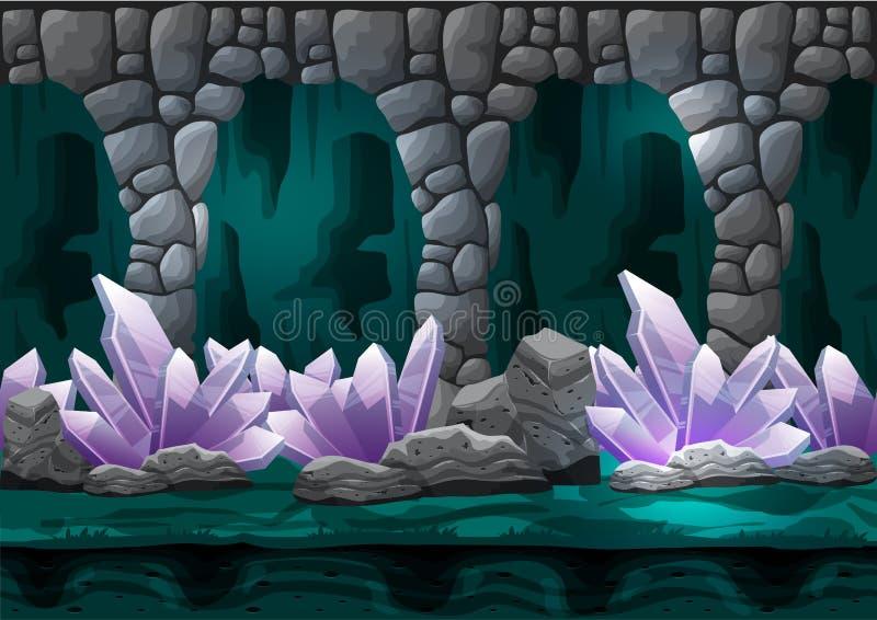 Безшовная пещера вектора шаржа с отделенными слоями для игры и анимации стоковое изображение rf
