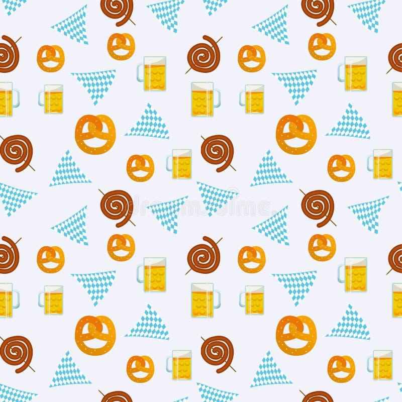 Безшовная плоская картина традиционной еды Oktoberfest Значки фестиваля пива Oktoberfest Символ Oktoberfest: кружка, закуска, кре бесплатная иллюстрация