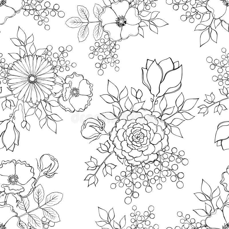 Безшовная поверхностная картина при нарисованная рука чернил эскиза цветет иллюстрация штока