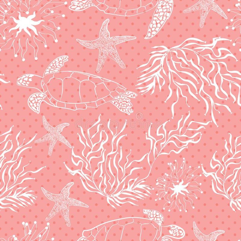 Безшовная подводная картина заводов черепахи океана моря бесплатная иллюстрация