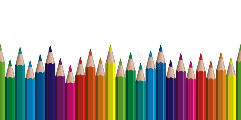 безшовная покрашенная строка карандашей иллюстрация штока