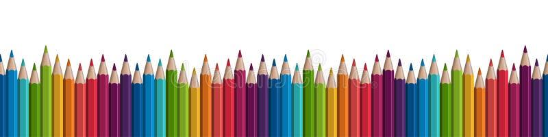 безшовная покрашенная строка карандашей бесплатная иллюстрация