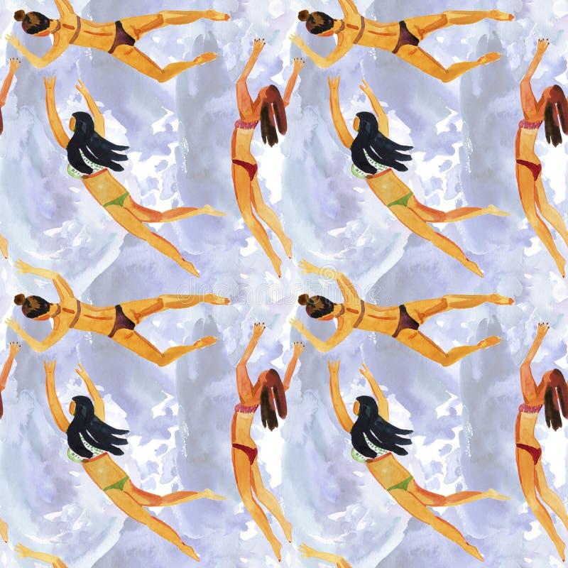 Безшовная предпосылка акварели Повторенная предпосылка с диаграммами маленьких девочек в купальниках различных национальностей иллюстрация вектора