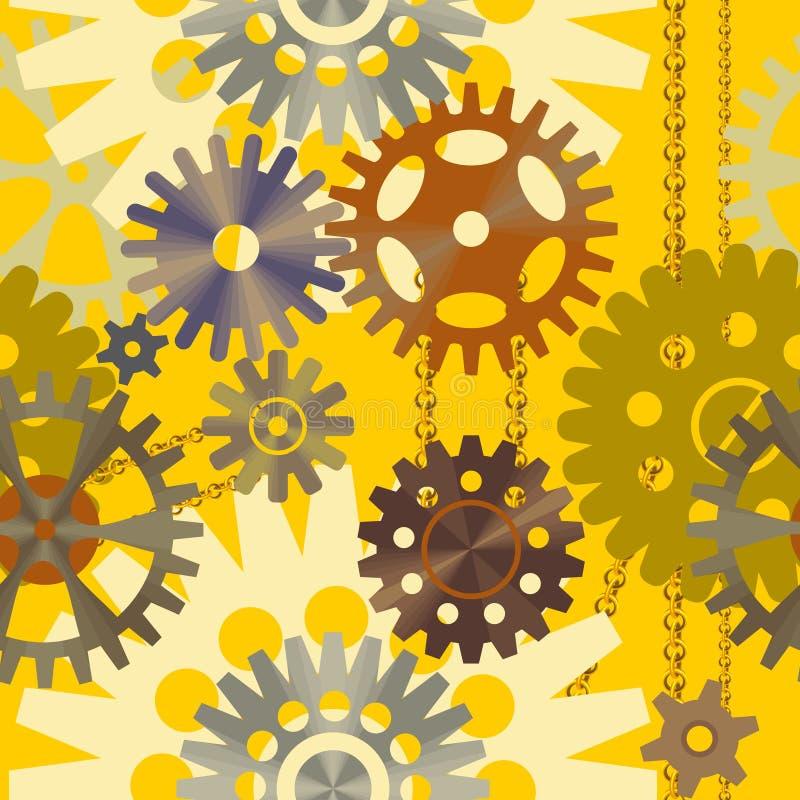 Безшовная предпосылка в желтом цвете с разнообразие шестернями иллюстрация вектора