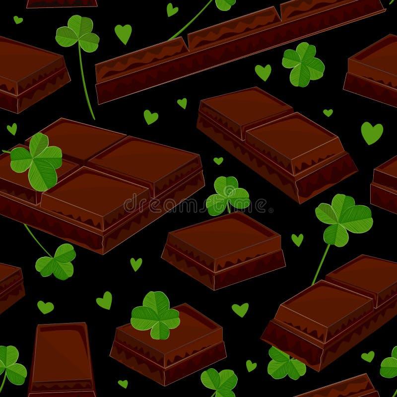 Безшовная предпосылка дня ` s St. Patrick с листьями и шоколадными батончиками клевера также вектор иллюстрации притяжки corel иллюстрация вектора