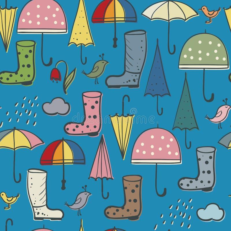Безшовная предпосылка зонтиков и птиц ботинок, дождя и весны иллюстрация вектора