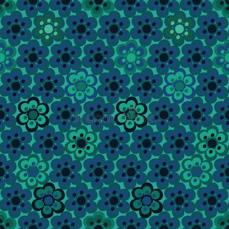 Безшовная предпосылка картины вектора с teal покрасила цветки в геометрическом плане бесплатная иллюстрация